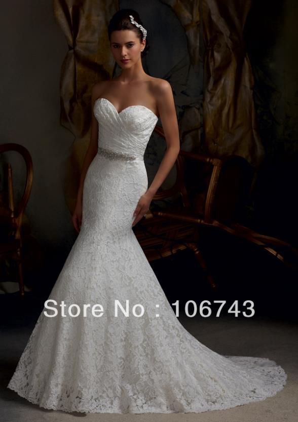 Free Shipping 2016 New Style Sexy Bride Wedding Custom Size Lace Bow Crystal Mermaid Bridal Dress