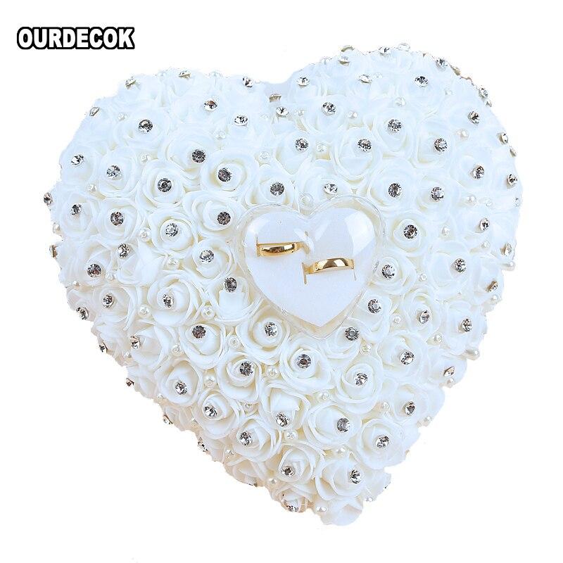 Casamento favores pendurar anel travesseiro com transprent caixa coração design com strass e pérola decoração anel de casamento almofada decoração
