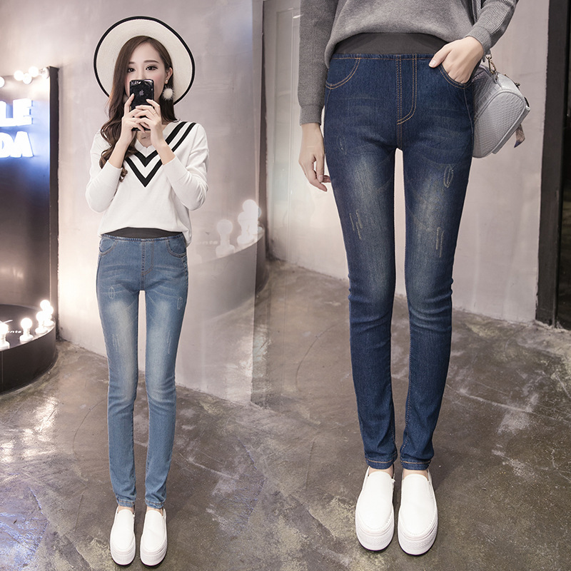 Jeans Women's Large Size High-waisted Korean-style Elastic Waist Slim Fit Elasticity Skinny Pants Students Pencil Trousers Fat M