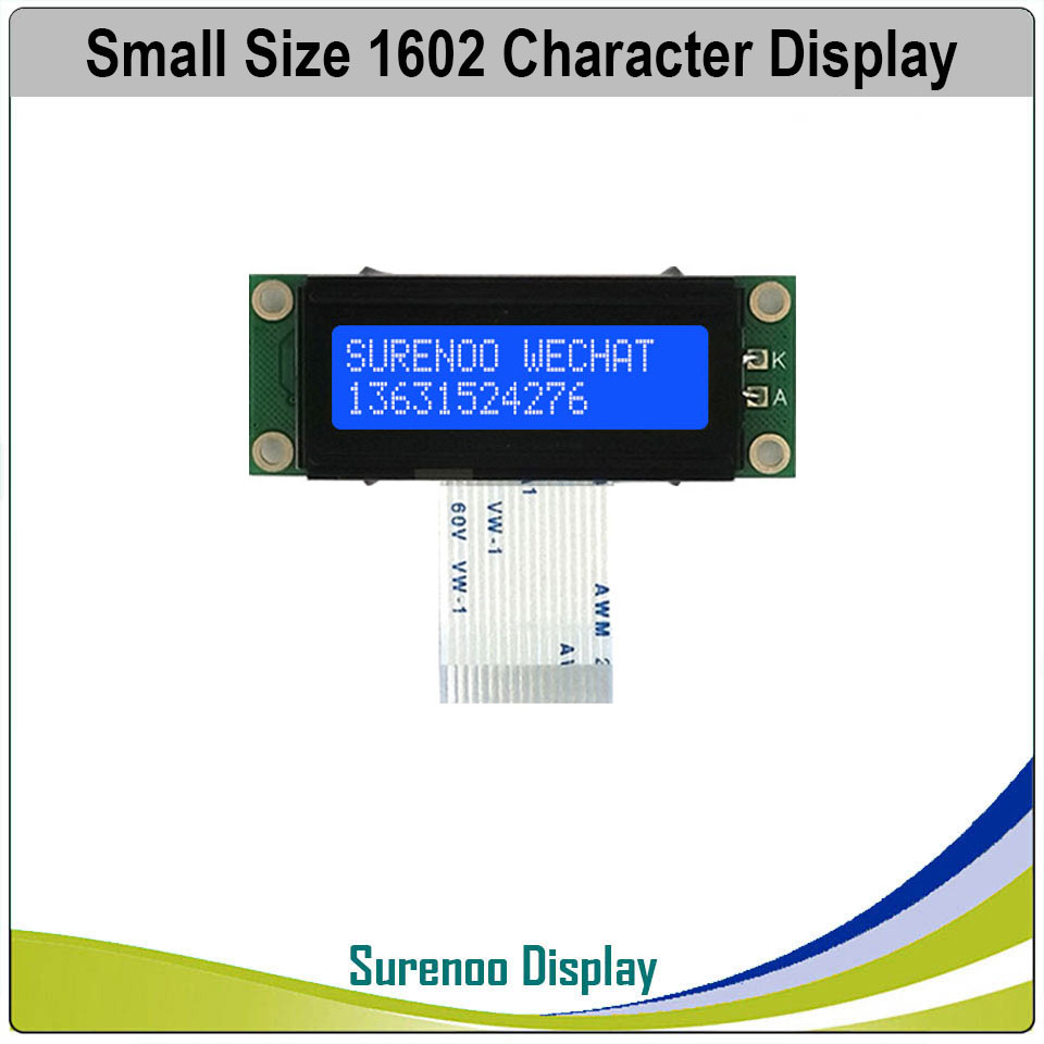 162 16X2 1602 Smaller Character LCD Module Display Screen LCM Blue Negative With White LED Backlight