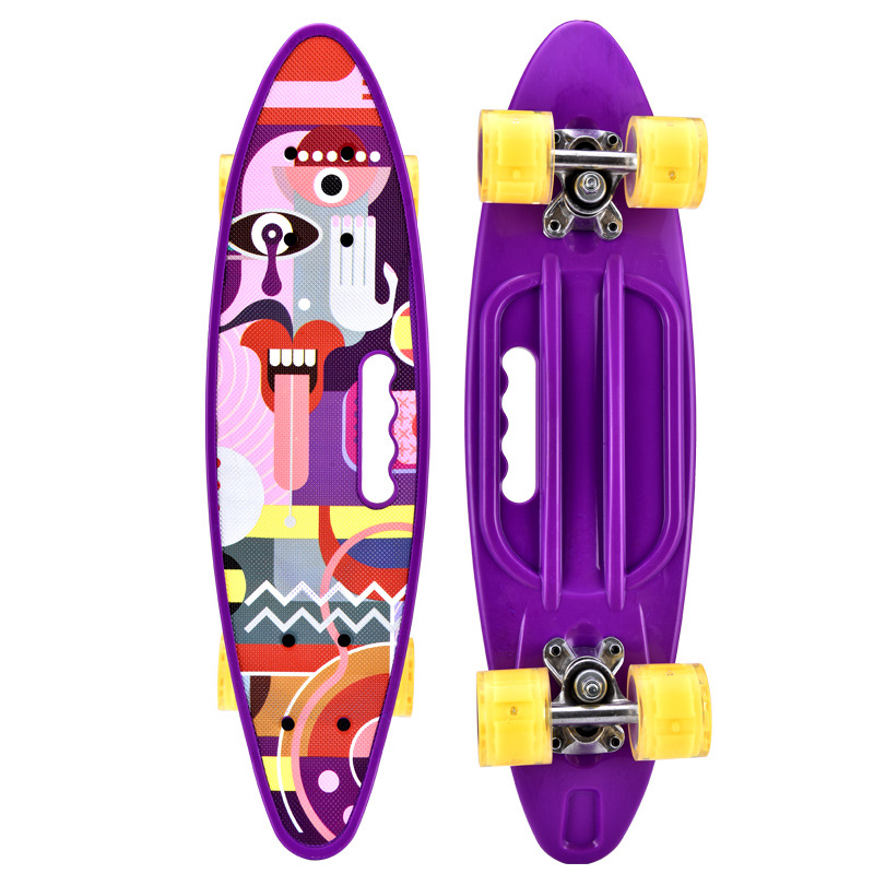 Manufacturers Wholesale Hand Fish Skateboard Plastic Banana Board Children Adult Four Wheel Teenager BOY'S And GIRL'S Skateboard