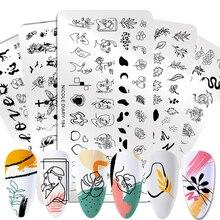 ניקול יומן אנשים שורת תמונת תמונות נייל Stamping צלחות שיש תמונה חותמת תבניות גיאומטרי הדפסת סטנסיל כלים