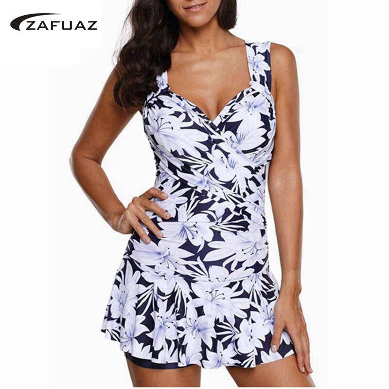 2019 Women Tankini Swimwear Two Piece Plus Size Swimsuit Shorts Push Up Female 2 Piece BathingSuit Skirt Beach Swimdress 5XL