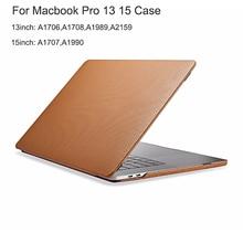 Funda de cuero genuino para Macbook Pro, protector para Macbook Pro 13, 15, 2018, A2159, A1706, A1708, A1989, cubierta de negocios para Macbook Pro 15, A1707, A1990