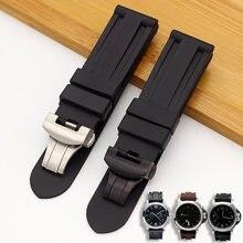 Pulseiras de relógio para panerai pam 111 441 tpu borracha silicone 22 24mm pulseira de relógio acessórios dobrável fecho relógio pulseira corrente