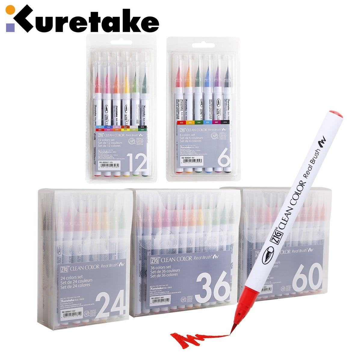 1set Japan Zig Kuretake RB-6000AT Clean Color Real Brush Watercolour Pens 4/6/12/24/36/48/60/90 Colours Set Brush Lettering