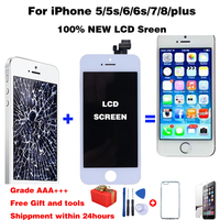 LCD Display For iPhone 5 6 7 8 6S Plus Touch Screen Replacement For iphone 4s lcd Display No Dead Pixel  Grade AAA+++