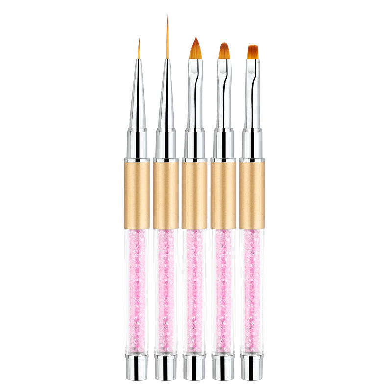 Nail Art Tools Supplies Pen Barrel Painted Diamond Phototherapy Nail Brush Hook Line Carved Crystal 5 Sticks/Set