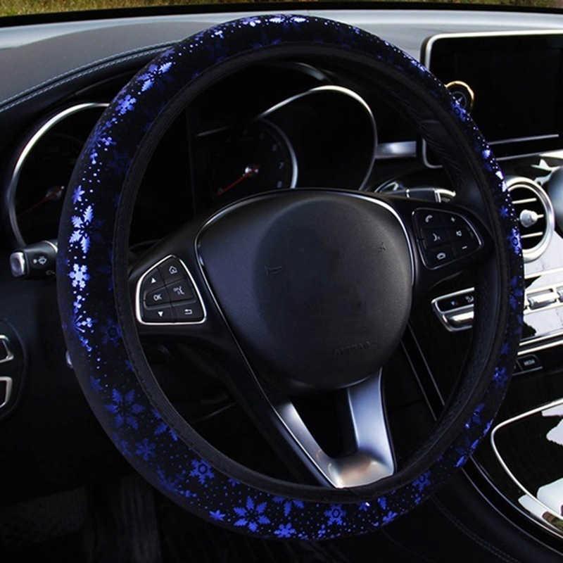 Bande élastique universelle de flocon de neige de marquage à chaud couverture de direction de voiture accessoires d'intérieur de style de voiture couverture de volant automatique
