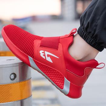 Męskie buty ze stali Toe buty robocze bhp na co dzień oddychające buty sportowe odporne na przebicie wygodne przemysłowe buty czerwone buty damskie tanie i dobre opinie NONE CN (pochodzenie) Safety shoes JB-781 Polichlorek winylu Work Safety Fly woven fabric ANKLE Adult Boots Low (1cm-3cm)
