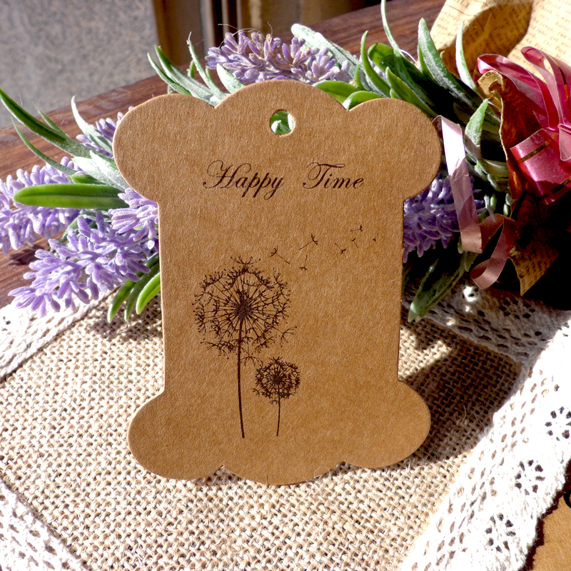 800GSM (épaissir) rétro Bobine de Kraft de carton de Style de pissenlit, Bobine de papier de partie de bricolage cartes étiquette de cadeau de grande taille 100 pièces