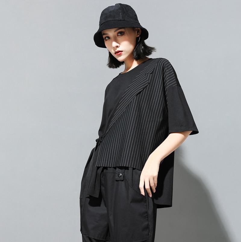 [EAM] Women Black Striped Asymmetrical Big Size T-shirt New Round Neck Half Sleeve  Fashion Tide  Spring Summer 2020 JT230 3