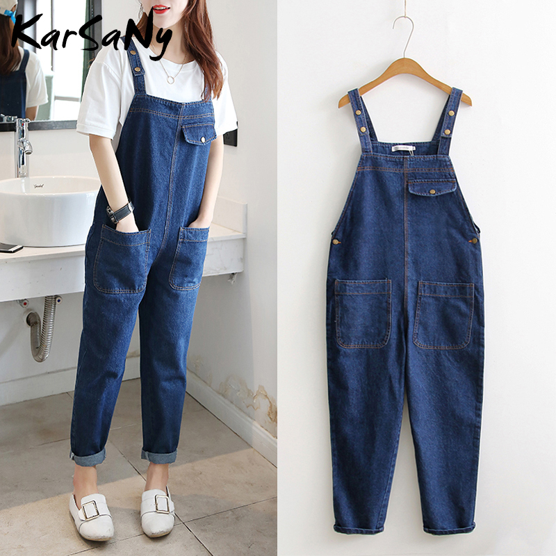 KarSaNy Denim Overalls Jeans Women Jumpsuit Denim Plus Size Jeans Woman Plus Size Blue Jean Overalls For Women Elegant Autumn