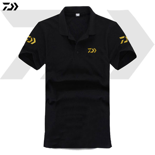 Daiwa Summer Fishing T-shirt Short Sleeve Outdoor Men Wear Breathable Running Riding Cycling Quick Dry Anti-UV Fishing Polo Tee