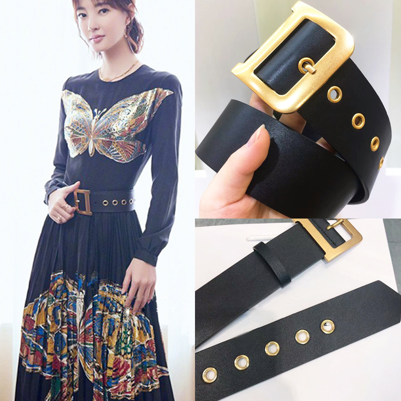 Luxury High Quality Women Fashion Genuine Leather Letter Copper Buckle Belt Ladies Solid Dress Sweater Belts Waistband Y495