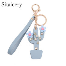цены Sitaicery Fashion Leather Flower Key Chain Cute Cactus Keychain Women Keychain Female Bag Charm Pendant Jewelry Keys Accessories
