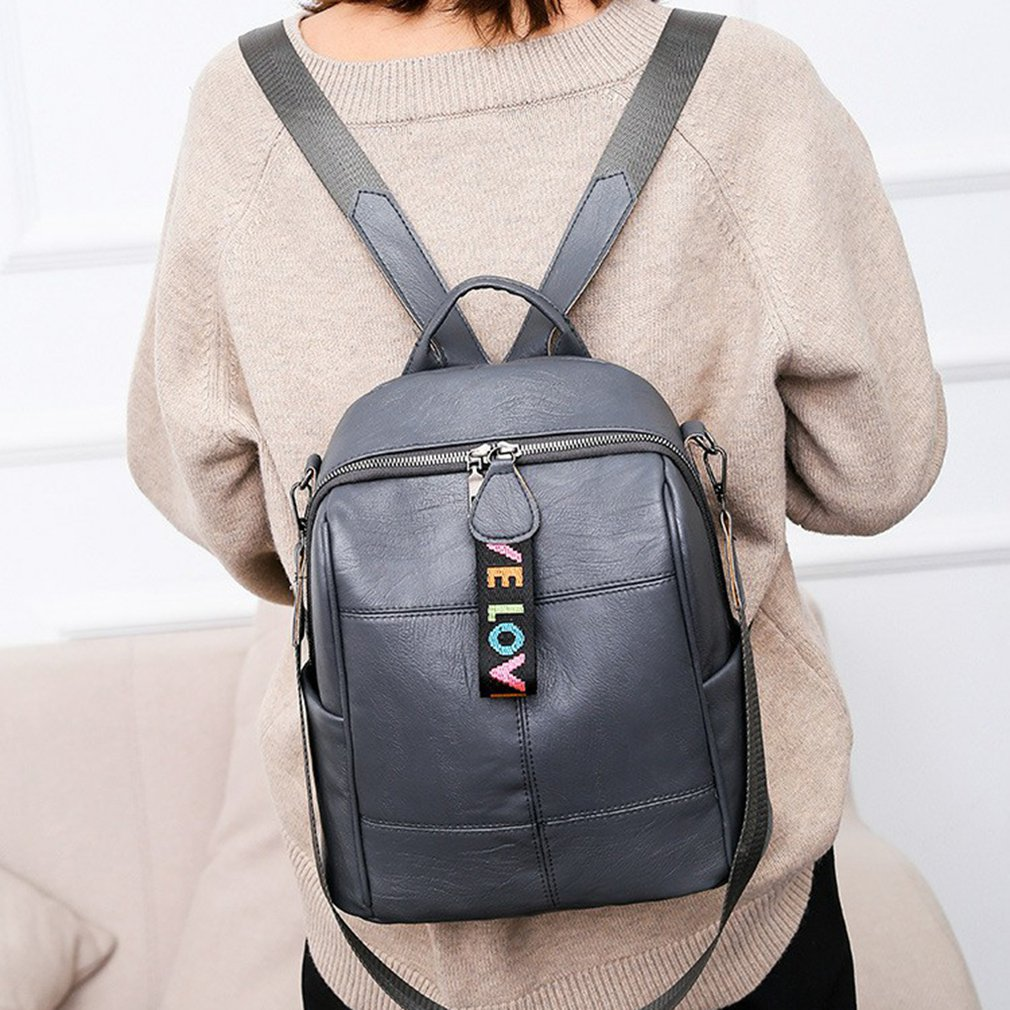 Hf49aaeba7f3a47cfbefe14b8767c1855x - Fashion Soft Leather Multipurpose Backpack Shoulder Handbag Women Backpack Color Matching Large Capacity Travel Shoulder Bag