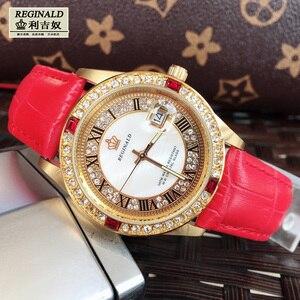 Image 2 - Женские кварцевые часы с большим циферблатом, красные светящиеся модные золотистые наручные часы с кожаным ремешком, Полностью украшенные ювелирными изделиями, 2019
