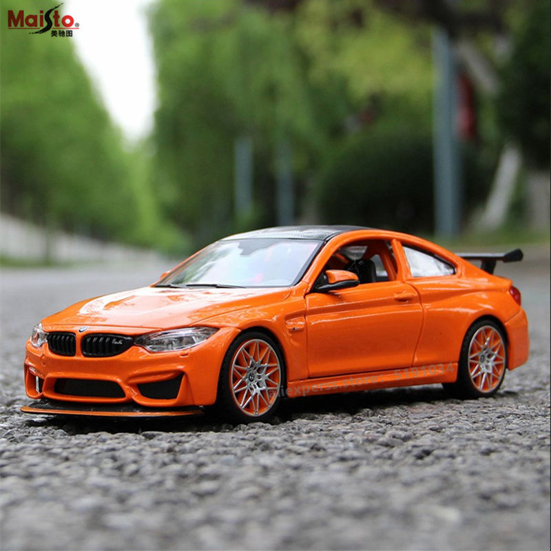 Maisto 1:24 Orange BMW M4GTS Alloy Racing Convertible alloy car model simulation decoration collection gift toy