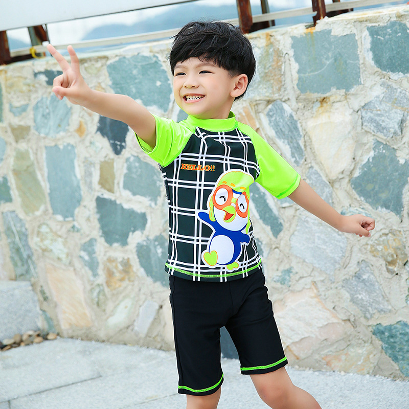KID'S Swimwear Boy BOY'S Children Two-piece Swimsuits Boxers Half Sleeve Sun-resistant Big Boy Hot Springs Swimwear