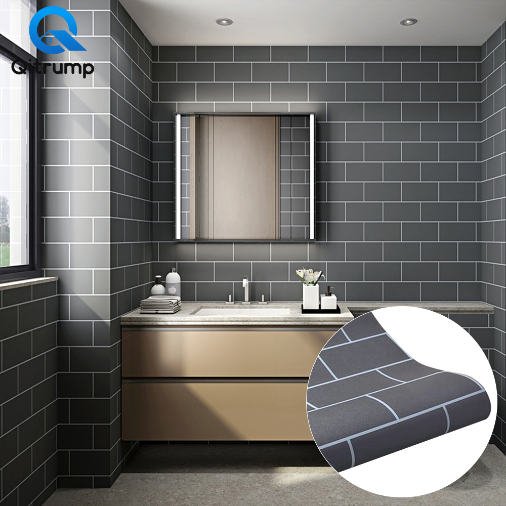 Modern Black White Gray Grid Wallpaper Bathroom Background Waterproof Self Adhesive Vinyl Kitchen Tile Wall Decor Contact Paper