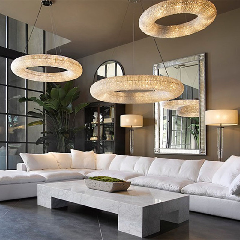 Современная хромированная хрустальная люстра освещение круглое кольцо столовая лампа светодиодные люстры для кухни спальни гостиной