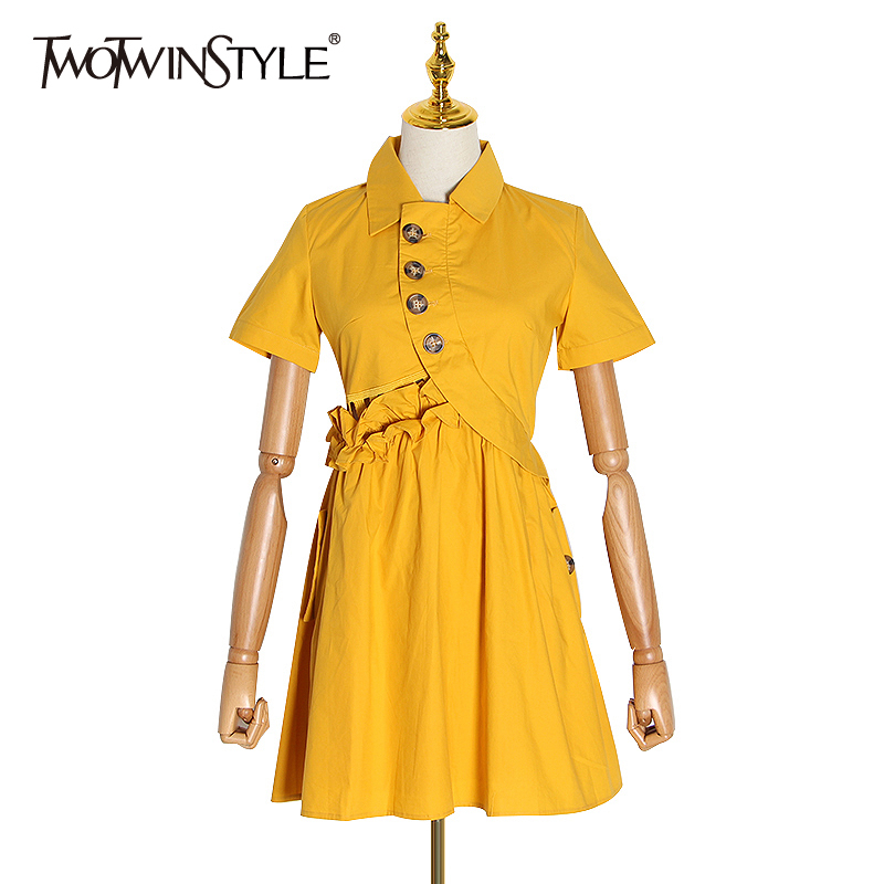 TWOTWINSTYLE Asymmetrical Sexy Dress Women Lapel Collar Short Sleeve High Waist Ruffle Dresses Female Fashion Clothing 2020 Tide