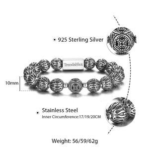 Image 3 - Trendsmax 10mm lüks 925 ayar gümüş boncuk bilezik erkekler kadınlar için streç enerji bilezik erkek hediye TBB021