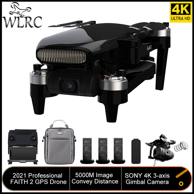 WLRC Faith 2 GPS Drone 4k Profesional 3-Axis Gimbal EIS Camera Quadcopter 35mins Flight Time 5KM FPV Transmission for New User 1