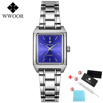 2020 WWOOR Top Brand Luxury Women Square Watches xfcs Genuine Leather Quartz Small Dial Wrist Watch Gifts For Women Montre Femme - Blue-G