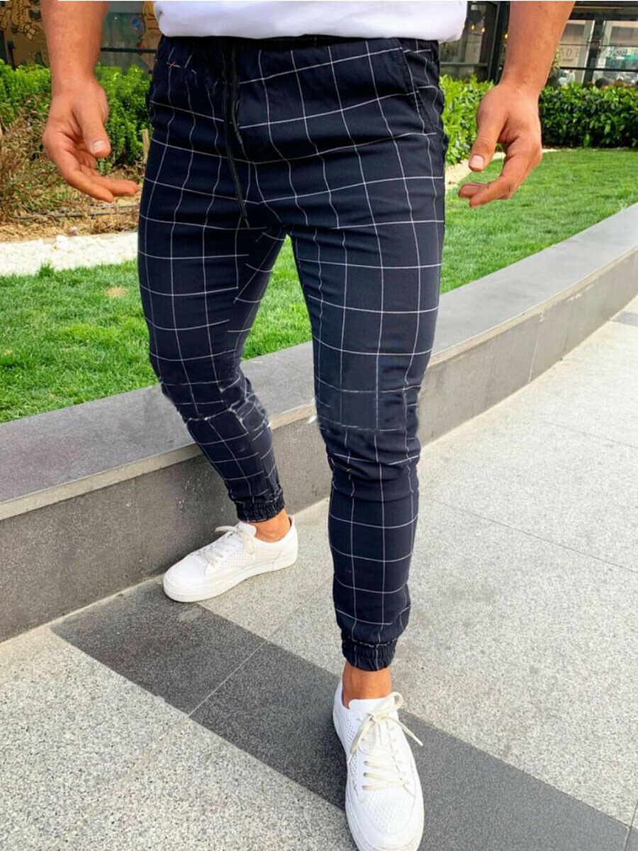 Spring Fashion Men's Casual High Waist Elastic Slim Fit Trousers Casual Plaid Stretch Pencil Pants With Pockets Sweatpants