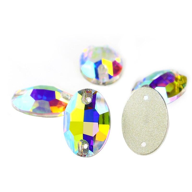 K9 Oval Crystal Rhinestones 17X24MM AB Sew on Rinestones flatback glass stone crystal diamond Accessories for clothing