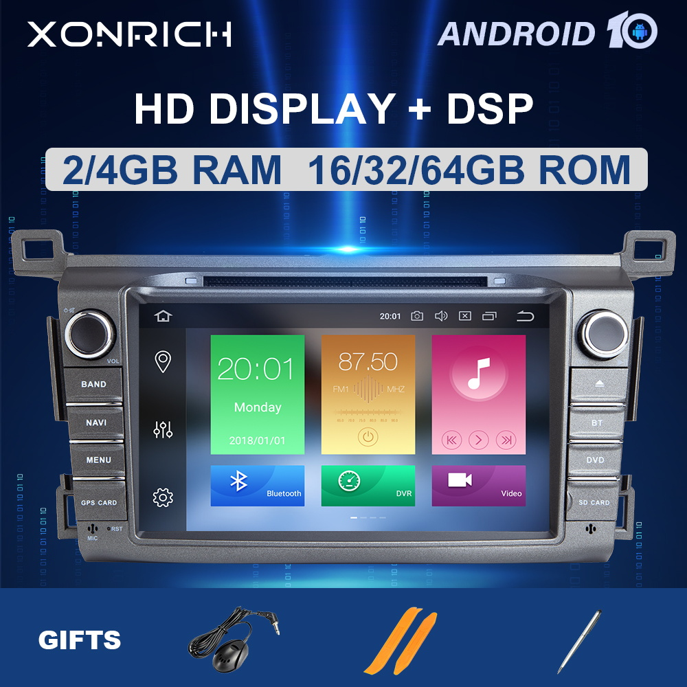 IPS 4G 64G 2 Din Android 10 Car multimedia dvd player GPS for <font><b>Toyota</b></font> <font><b>RAV4</b></font> <font><b>Rav</b></font> <font><b>4</b></font> 2013 <font><b>2014</b></font> <font><b>2015</b></font> <font><b>2016</b></font> <font><b>2017</b></font> 2018 radio stereo DSP image