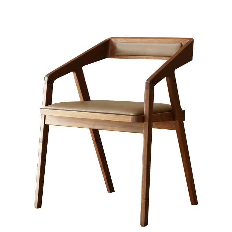 Nordic Dining Chair Solid Wood Chair Back Chair With Armrest Home Restaurant Study Desk Chair