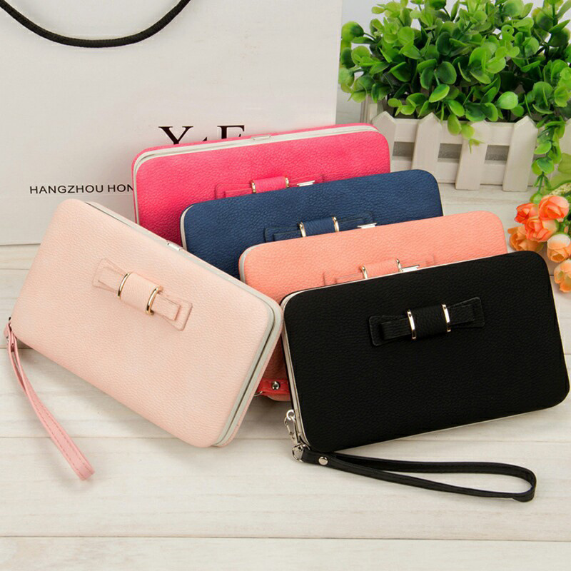 Black Womail Women Bow Zipper Wallet Card Coin Change Holder Clutch Handbags