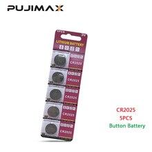 PUJIMAX CR2025 5 יח\אריזה מחשבון כפתור סוללה שעון DL2025 BR2025 שלט רחוק 3V חד פעמי ליתיום מטבע סוללה
