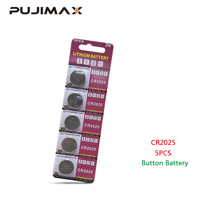 PUJIMAX CR2025 5pcs / Pack Calculator Button Battery Watch DL2025 BR2025 Remote Control 3V Disposable Lithium Cell Coin Battery
