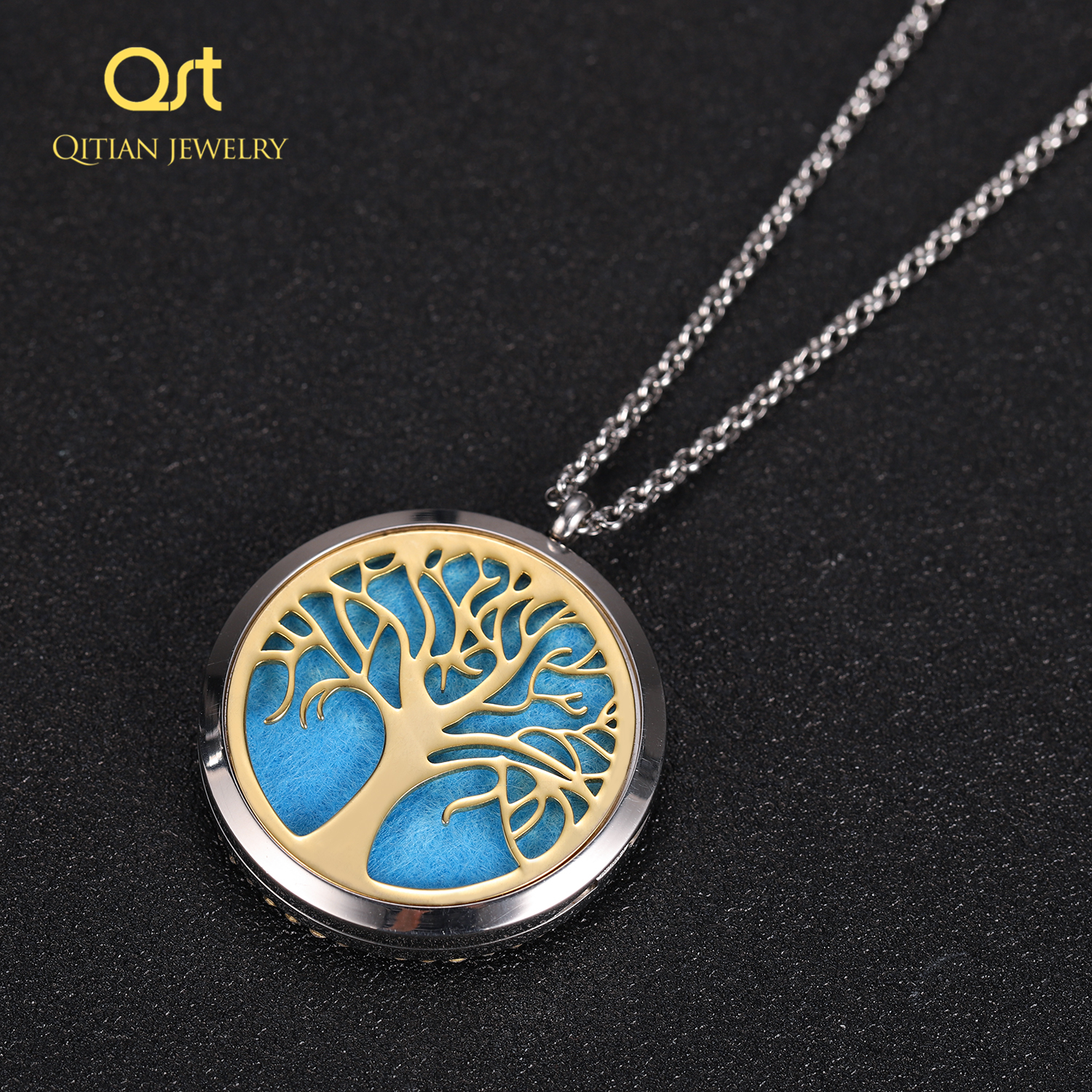 Personalized Statement Family Tree Necklace For Women custom Name Aromatherapy Stainless Steel Necklaces Men Jewelry bijoux Gift 3