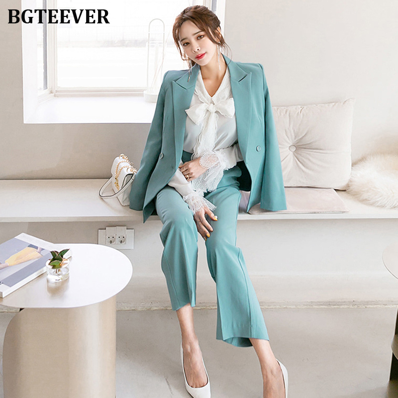 Office Ladies Double-breasted Women Blazer Suits Elegant Women Pant Suits Slim Jacket & Loose Pants Set Female Work Suits 2019