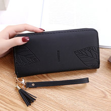 Mulheres carteiras e bolsas de couro do plutônio carteira feminina pulseira folha impressão longa bolsa de telefone de grande capacidade