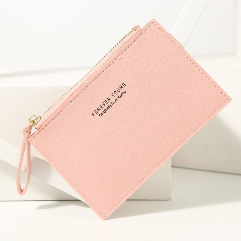 Men and women ID card holder PU zipper small coin purse credit card holder solid color business card case business card holder