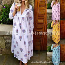 Large size women's dress seven-point sleeves beach dress leaf print V-neck Ladie long dress black leaf print v neck maxi dress