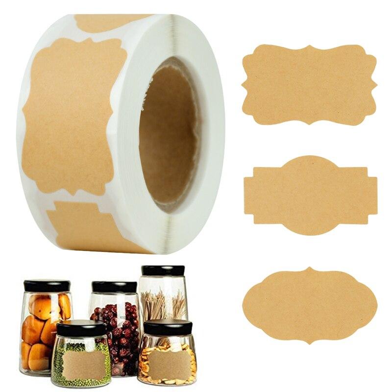 300pcs Blank Kraft Paper Stickers Glass Bottle Office Classification DIY Gift Tags Handmade Baking Label Package Seals Sticker