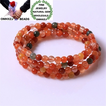 OMHXZJ Wholesale ZB420 5.5mm European Fashion Birthday Party Wedding Gift Natural Stone Fine Fortune Beads 3 layers Bracelets