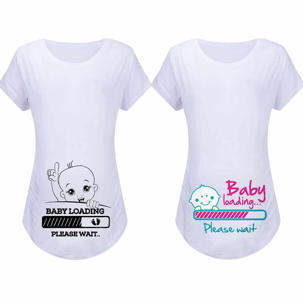 Hot Sale Baby is Coming Maternity T-Shirt Tops Mama Clothes Women Cartoon Print Tops Countdown Pregnancy Baby Announcment Tee