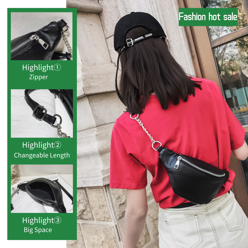 Wanita Fashion Rantai Kulit Messenger Tas Bahu Tas Dada Tas Sederhana Leisure Chian Single Bahu Messenger Casing Perjalanan Mar 6