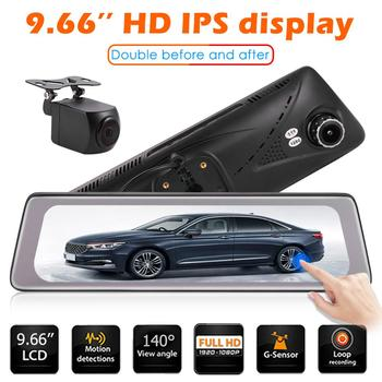 Phisung K5000 Car DVR Camera 1080P+720P 9.66-inch IPS touch screen Car Rearview Mirror DVR WiFi Dashcam Video Recorder Dash Cam image