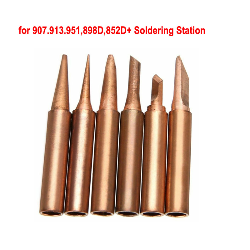 Pure Red Copper Soldering Iron Tip Diamagnetic Solder 900M-T Lead-Free Lower Temperature Soldering Welding Tools