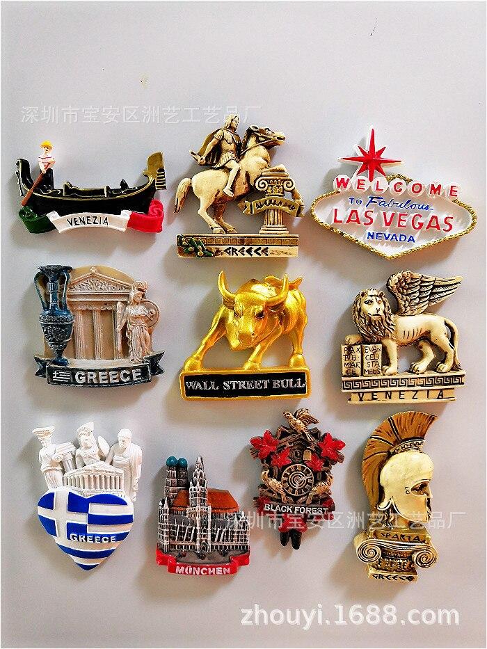 Бык Венеция Лас-Греция черный лес Мюнхена Спартанские шлемы Венецианский Лев Спартанский воин Сувенирный плоский магнит на холодильник