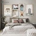 Холст с изображением мечети Хасана II, марокканская архитектура, плакат, Ранняя печать, Исламская Настенная картина, украшение для дома